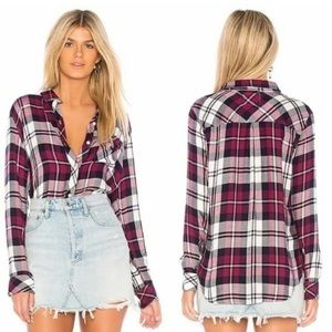 Rails Hunter Lychee/Navy/White Flannel Top